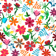 Seamless floral background.Colorful flowers and leafs on white background. Traditional Mexican pattern. Vector illustration.