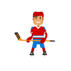Vector illustration of hockey player standung with a hockey stick in his hands in uniform. Flat design winter sport.