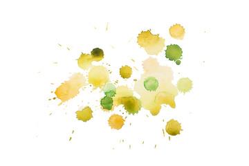 aquarelle yellow green wet splash, watercolor drop on white paper