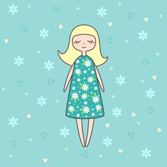 Vector illustration of nice doll on background with flowers and hearts