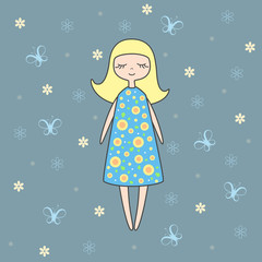 Vector illustration of nice doll on blue background with butterflies and flowers