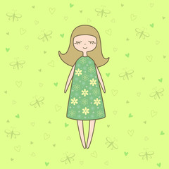 Vector illustration of  nice doll on green background with butterflies and hearts