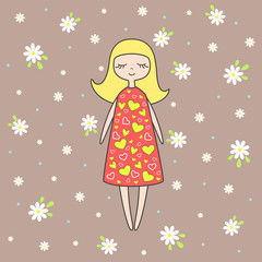 Vector illustration of nice doll on background with flowers