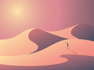 Explorer in sand dunes on a desert. Landscape vector illustration with man outdoors. Business symbol of vision, goals and ambition.