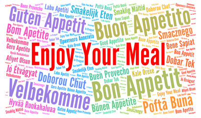 Enjoy your meal in different languages word cloud