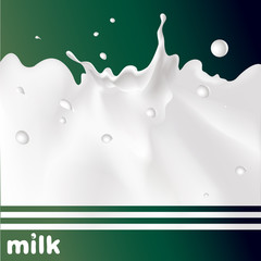 milk splash on green background - vector design