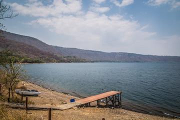 view of Gangplank on water at Lake Laguna de Apoyo, Nicaragua