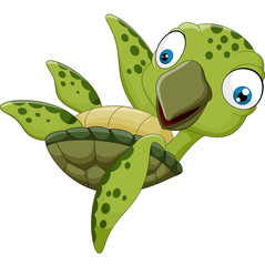 cute cartoon turtle waving