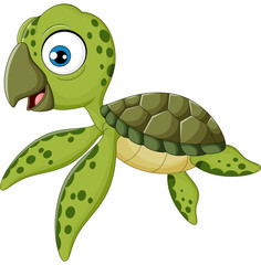 Cartoon baby turtle swimming,