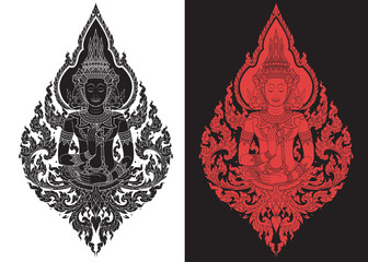 thai art outline illustrator