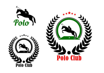 Polo club design with player and rearing up horse