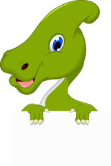 Dinosaur Parasaurolophus cartoon with blank sign