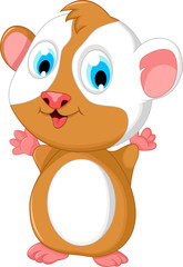 happy fat hamster cartoon posing