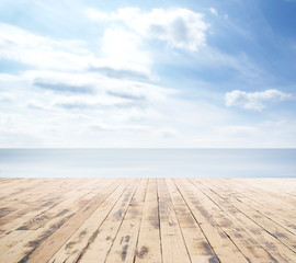 Wooden pier, exotic sea and a blue sky