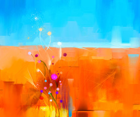 Abstract colorful oil painting landscape on canvas. Semi- abstract image of flowers in meadows ( field ) and blue sky. Spring season nature background