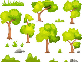 collection green tree silhouette for you design