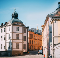 Panoramic view of the Old Town of Stockholm. Birger Jarls tower view.