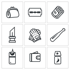 Vector Set of Street Crime Icons. Theft, Tool, Money, Threat, Extortion, Weapon, Attack, Pickpocket, Defense,