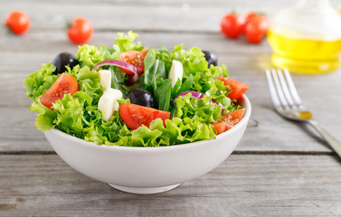 fresh vegetable salad with mozzarella