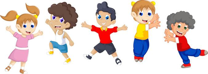 funny five children cartoon playing