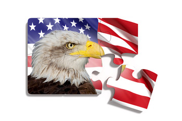 Puzzle with American flag with Eagle on white background
