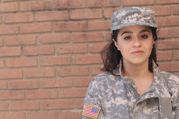 Portrait of a proud female soldier