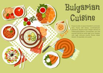 Bright festive menu icon of bulgarian cuisine