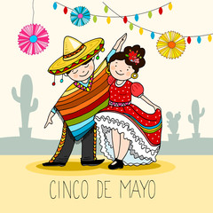 Mexican Dancers, greeting card for the for cinco de mayo holiday, hand drawn vector illustration