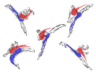 Taekwondo. Martial art Set