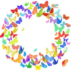 Butterfly wreath design element in bright colors