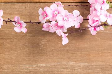 The Plastic sakura on wood background, plank