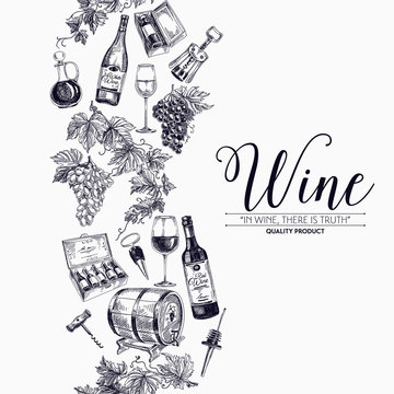 Vector background with hand drawn wine drawings.