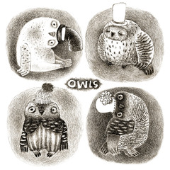 Four Pastel Owls in Funny Hats
