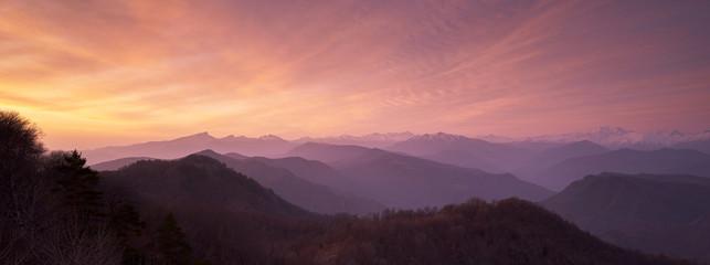 The beautiful sunrise in the Caucasus mountains