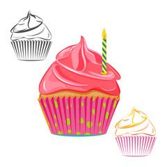 Birthday candle cupcake set