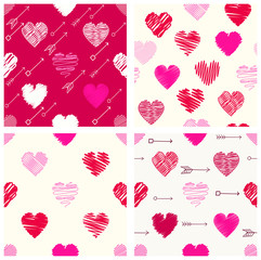 Collection of seamless valentine patterns with hearts and arrows