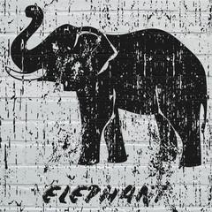 Street art, éléphant grunge