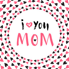 Mother Day greeting card. Vector printable poster. Hand lettering