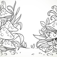 Amanita mushrooms in the grass outlined for coloring book isolat