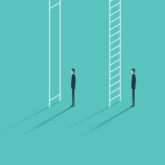 Inequality in career promotion concept. Two businessmen standing and climbing corporate ladders.