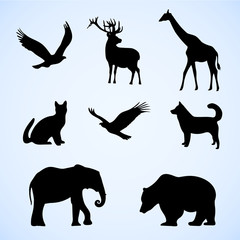 Vector set of illustration with wild and pet animals