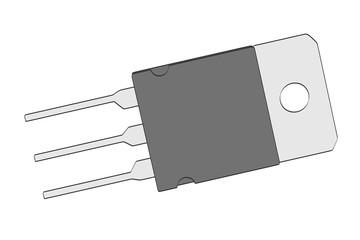 2d cartoon illustration of transistor