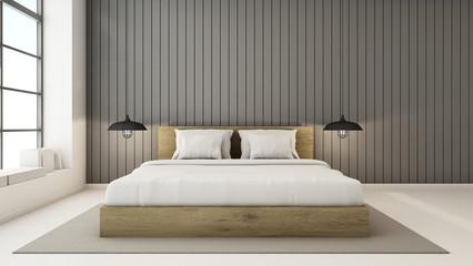 Bedroom interior design modern & loft - 3D render