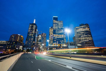 Modern buildings and traffic trails in downtown Melbourne