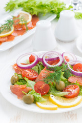 salad with salted salmon, vertical