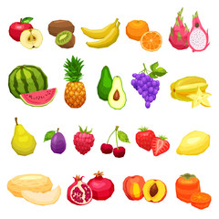 Collection Of Fruits Flat Icons, Fruits Set On White Background