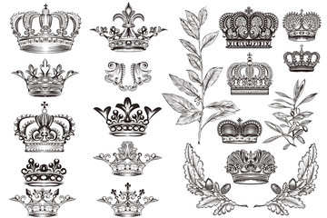 Crowns set or collection in vintage heraldic style for design