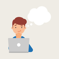 Vector illustration of a man working on the computer and thinkin