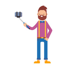 Vector illustration of a man taking selfie on a smartphone