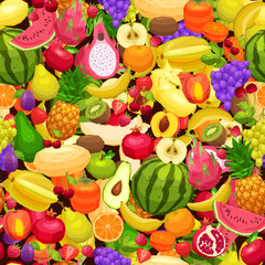 Fruits Background, Bright Seamless Pattern With Different Fruits